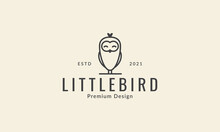 Cute Little Birds Line Smile Logo Symbol Icon Vector Graphic Design Illustration