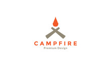 Wood Cross With Camp Fire Logo Symbol Icon Vector Graphic Design Illustration