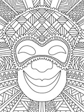 Ornamental Jester In Venetian Mask Stock Vector Illustration. Funny Symmetry Mardi Gras Character Portrait Coloring Page For Kids And Adults. Funny Joker Wears Mask And Smiles Black And White Zen Art