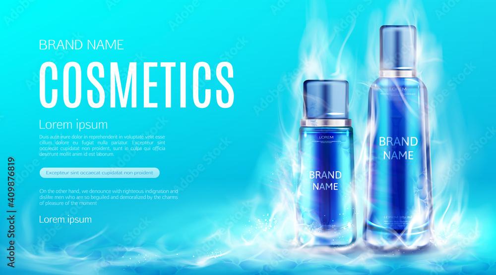 Fototapeta Cosmetics bottles in dry ice smoke cloud mockup