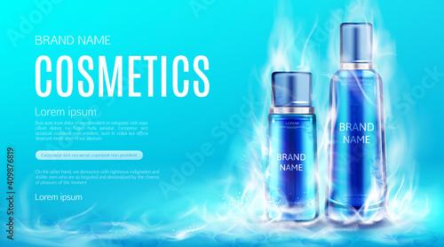 Fotografie, Obraz Cosmetics bottles in dry ice smoke cloud mockup