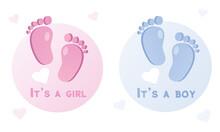 Baby Feet. It's A Boy, It's A Girl. Card Template