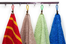 Colored Terry Towels Hanging On The Hanger Hooks, Fragment