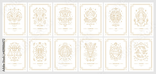 Fotografering Zodiac astrology horoscope cards linear design vector illustrations set