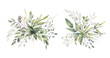 Leinwandbild Motiv Watercolor floral illustration set - green leaf branches bouquets collection, for wedding stationary, greetings, wallpapers, fashion, background. Eucalyptus, olive, green leaves, etc. High quality
