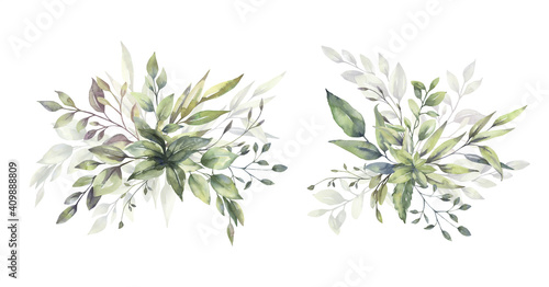 Watercolor floral illustration set - green leaf branches bouquets collection, for wedding stationary, greetings, wallpapers, fashion, background Fototapeta