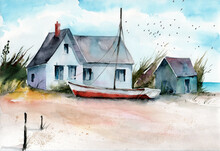 Watercolor Illustration Of A House And A Boat On A Sandy Beach With Some Trees And Blue Sea On The Background