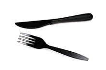 Black Plastic Cutlery Knife Fork Spoon Isolated On White Background Low Highlight. For Kitchen Restaurant And Table Set Up. Concern To Plastic Conservative Recycle Items And One Time Use Utensils