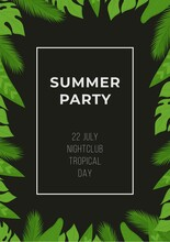 Poster With Tropical Leaves. Vector Illustration Of A Discounted Summer Banner.
