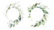 Leinwandbild Motiv Watercolor floral illustration set - green leaf Frame collection, for wedding stationary, greetings, wallpapers, fashion, background. Eucalyptus, olive, green leaves, etc. High quality illustration