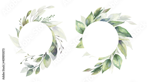 Obraz Watercolor floral illustration set - green leaf Frame collection, for wedding stationary, greetings, wallpapers, fashion, background. Eucalyptus, olive, green leaves, etc. High quality illustration - fototapety do salonu