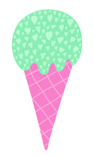 Vector Ice Cream In Waffle Cone. Pastel Ice Cream With Many Tiny Hearts. Hand Drawn Cartoon Doodle Food Sketch Isolated On White Background. Lovely Vector Illustration.