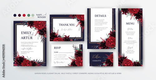Floral wedding invite, menu, rsvp card editable vector design Fototapete