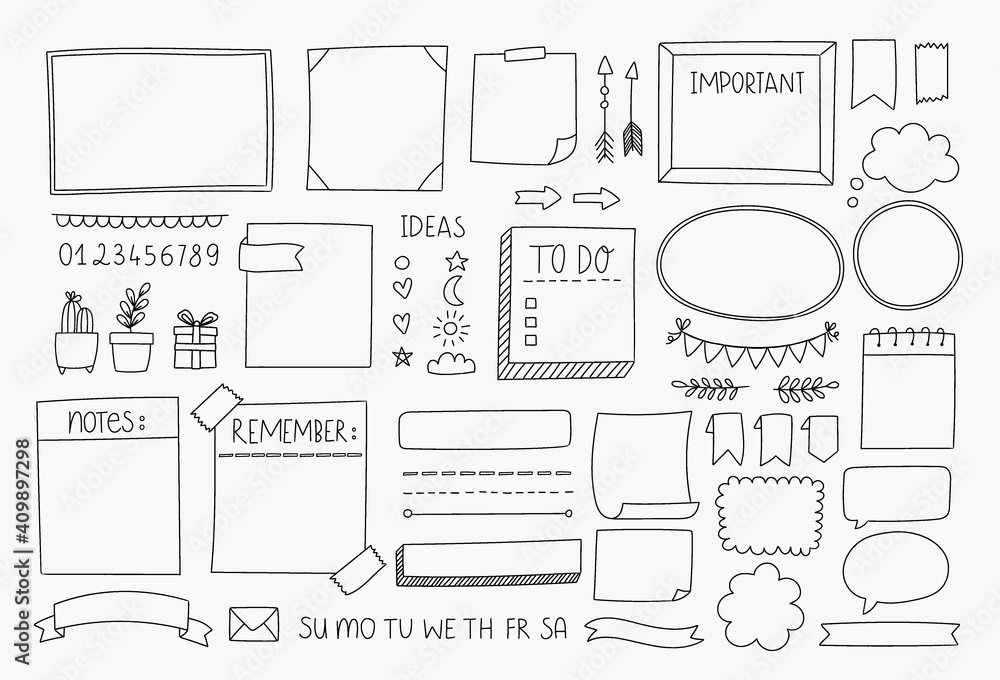 Fototapeta Bullet journal hand drawn vector elements for planner, notebook, diary. Doodle banners isolated on white background. Notes, list, frames, dividers, design elements.