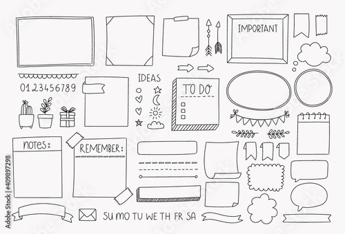 Obraz Bullet journal hand drawn vector elements for planner, notebook, diary. Doodle banners isolated on white background. Notes, list, frames, dividers, design elements. - fototapety do salonu