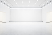 StyBright White Lish Gallery Interior With Empty Wall