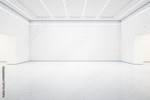 Fotomural StyBright white lish gallery interior with empty wall