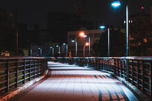 Road And Lights At Midnight In Yokohama, Japan