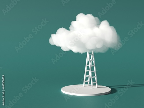 Fotografia White cloud with a ladder on a green background, green energy and cloud modern t