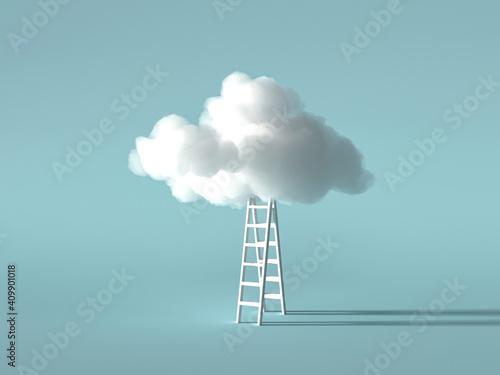 Obraz na plátně White cloud, modern technologies, artificial intelligence and data storage 3D re