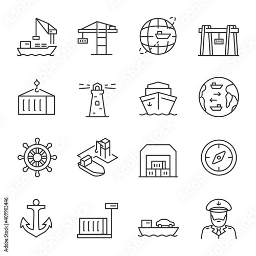 Foto Seaport, icon set
