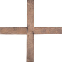 Wooden Cross Stand Isolated On Wooden Background