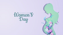 Women's Day S Of Pregnant Women Shapes With Colorful Flowers