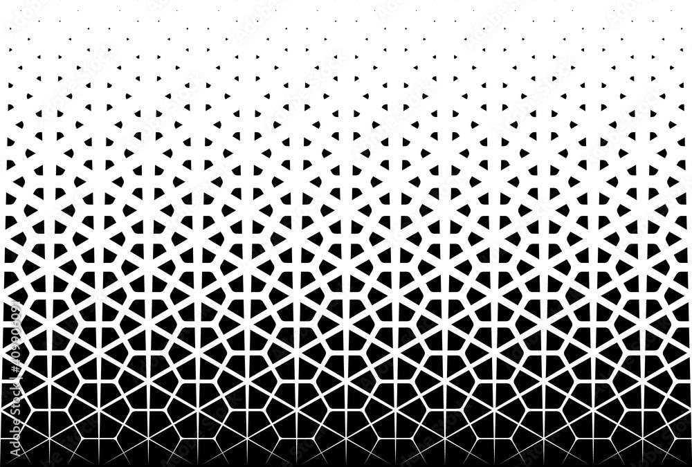 Fototapeta Disappearing pattern in japanese style kumiko. Black figurs on a white background.