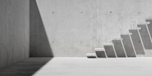 Abstract Empty, Modern Concrete Exterior Room With Staircase And Sunlight - Industrial Background Template Or Career Concept