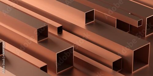 Canvastavla Copper square profiles stack or heap frame filling background, metal manufactori