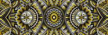 Abstract Ethnic Vintage Yellow And Grey Background.