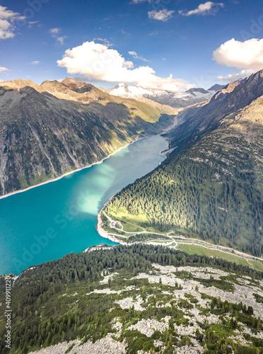 Fényképezés Aerial drone shot of Schlegeisspeicher glacier reservoir in zillertal alps in Au