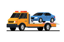 Car Tow Truck Accident Roadside Assistance. Crash Breakdown Flatbed Blue Car Recovery Tow Truck