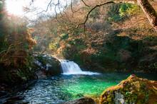 Idílica Cascada Desciende Hasta Un Precioso Y Pequeño Lago En Medio Del Bosque