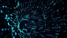 Computer Generated Blue Gaseous Shape From Particles With Depth Of Field. 3d Rendering Of Abstract Glowing Background