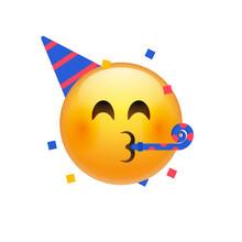 Birthday Party Emoji Celebrate Emoticon. Happy Birthday Face Hat Emoji