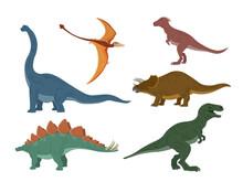 Different Type Of Dinosaurs Illustration. Dinosaurs Cartoon Character. Brachiosaurus, Pterodactyl, Tyrannosaurus Rex, Dinosaur Skeleton, Triceratops Stegosaurus