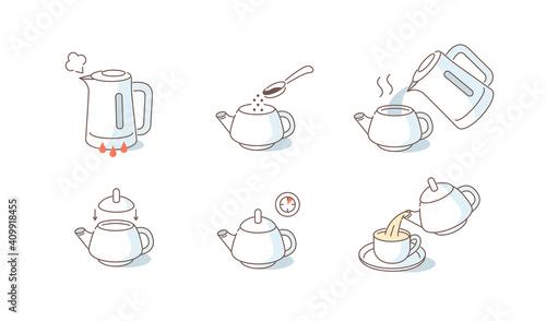 Fotografiet Instruction How to Brewing Leaf Tea