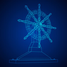 Ship Steering Wheel. Marine Rudder. Wireframe Low Poly Mesh Vector Illustration.