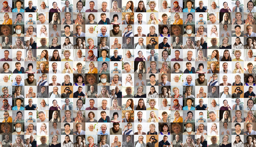 Fototapeta Collage with many business people portraits