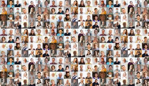 Billede på lærred Collage with many business people portraits