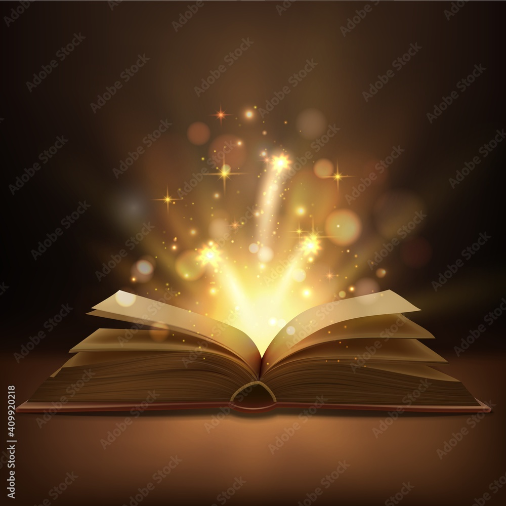 Fototapeta Open book with magic lights realistic vector design. Fantasy or fairy tale book, Bible or wizard spellbook with bright glowing pages, shining sparkles and bokeh, education, Christmas, Halloween themes