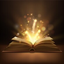 Open Book With Magic Lights Realistic Vector Design. Fantasy Or Fairy Tale Book, Bible Or Wizard Spellbook With Bright Glowing Pages, Shining Sparkles And Bokeh, Education, Christmas, Halloween Themes