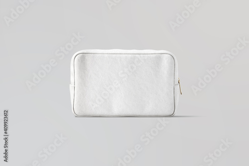 Obraz Blank white canvas cosmetic bag mockup, gray background - fototapety do salonu