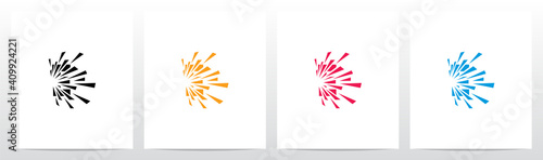 Fotografia, Obraz Debris Explosion On Letter Logo Design E