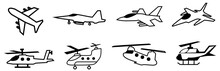 Set Of Jet Fighter Icon. Helicopter Icons Symbol. Illustration Of Airplane Line Icons . Editable Stroke. Vector. Eps10