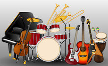 Musical Instruments Realistic Set Stock. Ratchet, Tambourine, Drums, Acoustic And Electronic Guitars, Violin, Trumpet, Flute, Maracas Grand Pianos Drums