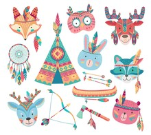 Cute Native American Or Indian Animal Vector Icons With Tribal Feather Headdresses, Arrows, Dream Catcher And Tepee, Bow, Tomahawk, Canoe. Baby Bear, Rabbit Or Bunny, Fox, Owl, Racoon And Deer Faces