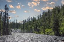 River Through Yellowstone In Wyoming