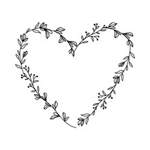 Hand Drawn Floral Heart Frame Wreath On White Background